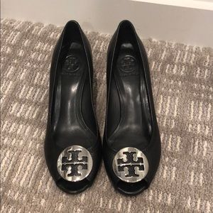 Black Leather Tory Burch Wedge